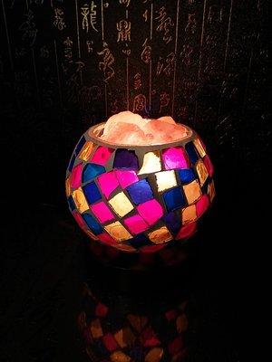 晶麗鹽燈-馬賽克玻璃創意造型鹽燈-七彩塊 聚寶盆 夜燈 床頭燈,兼具: 風水 招財 旺桃花 開運 化煞 除穢 鎮宅 避邪