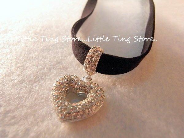 Little Ting Store 母親節禮物時尚愛心水鑽墜飾繞頸皮黑繩項鍊短項鍊//頸鍊 鎖骨鍊