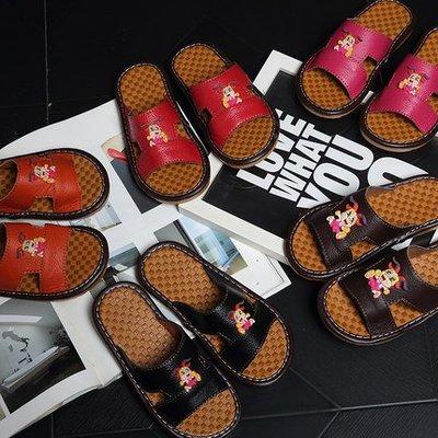 夏季居家皮儿童凉拖鞋女童 头层牛皮防滑牛筋底男童皮拖鞋