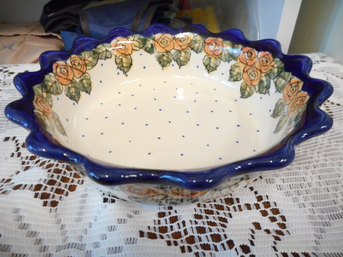 ~~凡爾賽生活精品~~全新波蘭進口手工彩繪玫瑰花造型小派盤.小餐盤