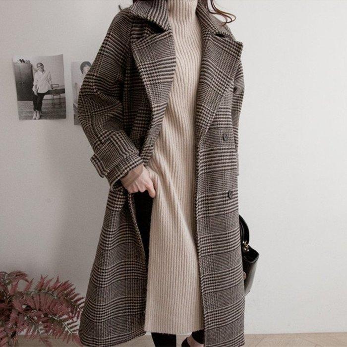 冬款保暖長版外套 千鳥格紋加厚毛呢大衣外套 艾爾莎【TGK8068】