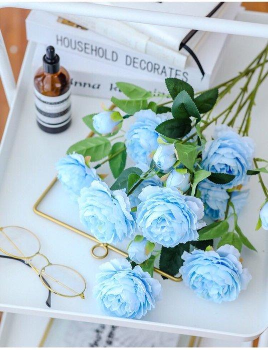 大牡丹花 牡丹花 3頭  仿真花 裝飾 婚禮 佈置 大朵 ins 清新 拍照 道具 攝影 藍色 假花 人造花 粉色 香檳