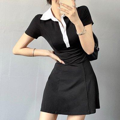 妮妮韓國服飾店~Single-breasted A-line jumpsuit收腰顯瘦單排扣A字連身短裙女裝