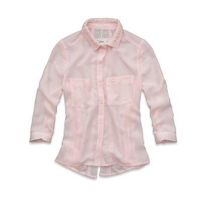 【天普小棧】abercrombie A&F lace back chiffon shirt五分袖雪紡紗襯衫Kids XL