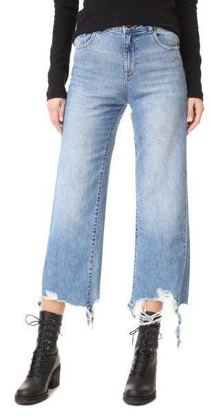 ◎美國代買◎DL1961 Hepburn 抽鬚刷破經典藍刷色高腰寛管刷破褲口七分牛仔褲