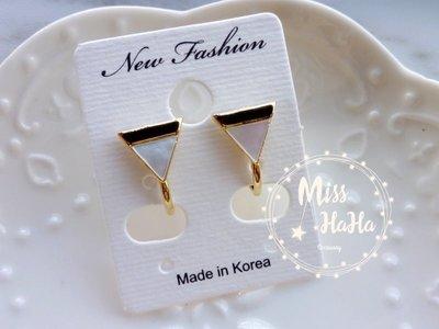 *Miss Ha Ha*F151韓.幾何貝殼三角夾式耳環/螺旋夾.現貨180121