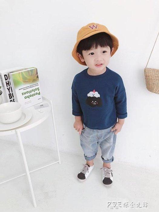 兒童長袖T恤男寶寶寬鬆韓版上衣男童印花時尚打底衫