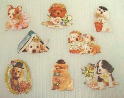 日本 Flake Stickers 小狗 71092 箔押貼紙(8枚)