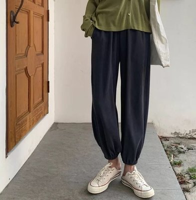 親膚舒適銅氨絲收口褲寬鬆顯瘦休閒運動褲