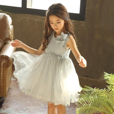 公主裙 春夏季韓版童裝新款女童網紗連身裙拼接公主裙大花無袖蓬蓬裙