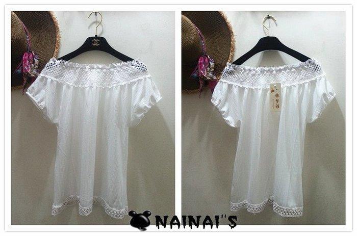 【NAINAIS】Fall‧A 001 韓版 日系雜誌款 透膚蕾絲領口圓領短袖寬鬆上衣 白 現貨 特價品