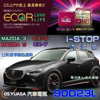 【電池達人】日本 GS 90D23L I-STOP 啟停車 待速熄火 SUBARU XV OUTBACK 速霸陸 馬自達