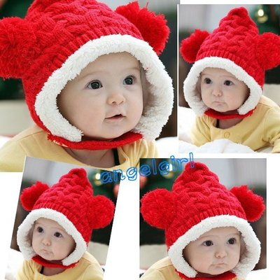 紅豆批發/ 雙球帽兒童帽子小熊帽毛線帽內裡鋪棉帽子/ 幼兒帽寶寶帽保暖帽護耳帽套頭帽棉帽毛線帽 南投縣