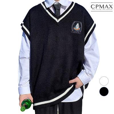 CPMAX 韓系學院風V領刺綉針織衫 針織毛衣背心 針織背心 針織 毛衣 針織衫 背心 學院風 韓系 男生毛衣 C141