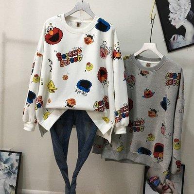 【An Ju Shop】韓國連線 東大門代購 秋冬 卡通芝麻街印花插肩袖寬鬆套頭T恤上衣~G8J096535