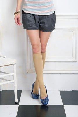 (F12) 360 Den 直紋Lycra健康小腿襪-露趾 (中統襪)-膚(透明袋裝)