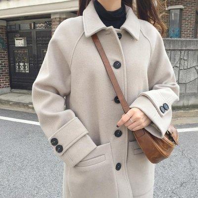 日和生活館 正韓冬季加棉厚中長款氣質毛呢子外套大衣修身顯瘦長袖學院風女潮S686