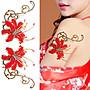 【萌古屋】紅色線條花朵肩胸手臂大圖 - 男女防水紋身貼紙刺青貼紙K00