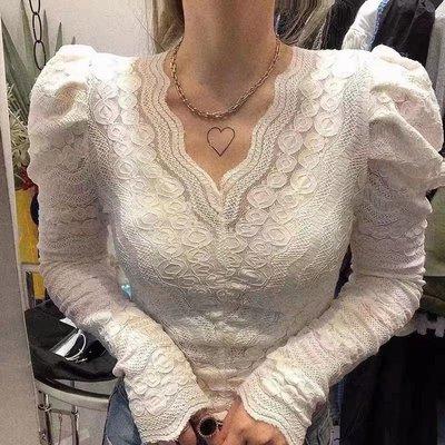 小性感鏤空v領純蕾絲上衣