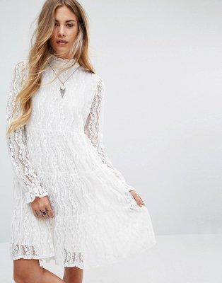 Navy London High Neck Smock Dress In Lace -/ UK 8 蕾絲洋裝