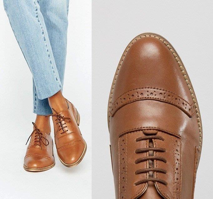 ◎美國代買◎ASOS雕花尖頭鞋楦鞋帶設計英倫紳士風駝色雕花平底牛津鞋皮鞋~歐美街風~大尺碼