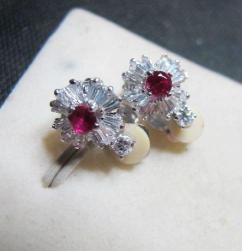 [一品軒促銷品]紅寶石鑽石切面豪華造型夾式耳環