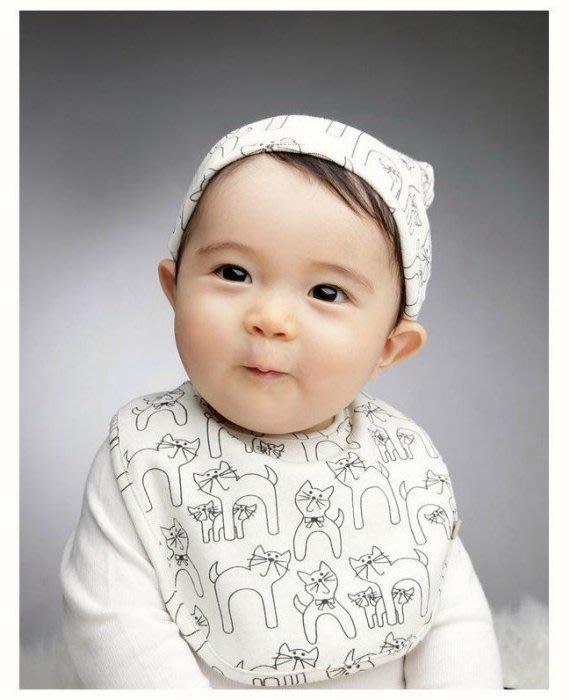 HM嬰幼館【Q1009】 韓國春秋冬套頭帽口水巾套裝寶寶帽子嬰兒帽子新生兒帽+口水巾兩件組
