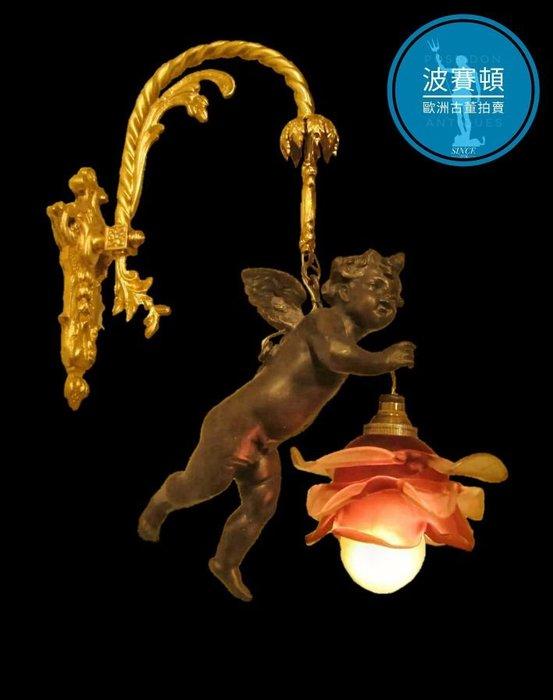【波賽頓-歐洲古董拍賣】歐洲/西洋古董法國古董拿破崙三世風格鎏金金 青銅銅雕豎琴天使手工鬱金香玻璃燈罩壁燈/燭台1燈(天使長度:26cm)(已售出)