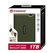 含發票TS1TSJ25M3G軍綠色創見1TB Slim StoreJet2.5吋 Portable HDD超薄款保固三年