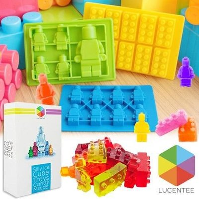 Lucentee® Silly Candy Molds & Ice Cube Trays Lego Figures with Bonus Ebook