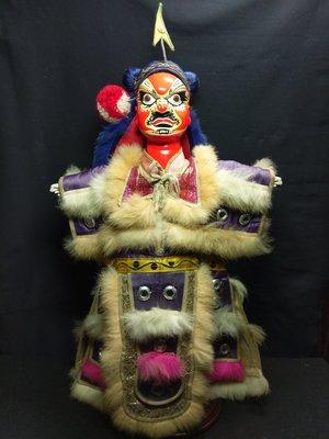 花臉將軍 1999年掌中劇團二手布袋戲偶 頭手木製  有款 足塑膠 高48cm 老件有歷史痕跡不附木架 含運不議價