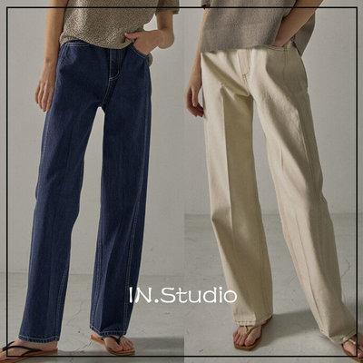 SOMI正品代購~INstudio21春韓國設計師品牌FACADE PATTERN新款純色牛仔長褲6色
