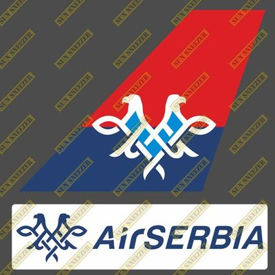 塞爾維亞航空 Air Serbia 垂直尾翼與機身商標 貼紙  尺寸上63x86mm 下 23x90mm