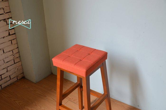 美希工坊JAN-PON吐司吧台椅/中島椅/吧台椅/ 亞麻橘/沙發坐感/柚木椅架