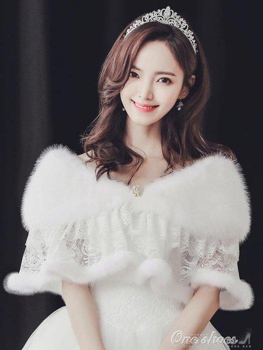 新蕾絲款秋冬季仿狐貍毛伴新娘結婚紗披肩旗袍披風正韓斗篷女