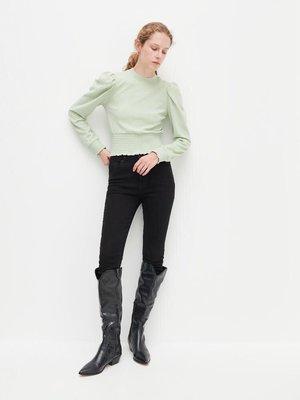 歐洲 Reserved 淺綠 黑 白 高腰修身泡泡袖上衣 450元