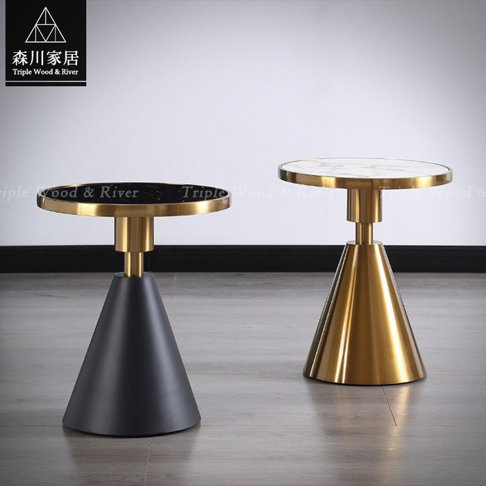 《森川家居》PLT-50LT14-現代輕奢設計圓錐型石面茶几 客廳起居室桌椅/大理石民宿餐廳/美式LOFT品東西IKEA