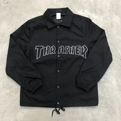 ☆LimeLight☆ THRASHER FLAME TWILL COACH JACKET 刺繡 教練外套 黑色
