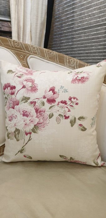 [C029] 英國進口印花純棉布 牡丹花卉印花 45*45公分抱枕套  鄉村風 北歐風 棉心另購