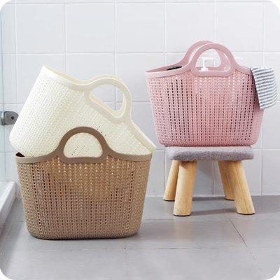 仿藤編塑膠手提購物籃 家用鏤空洗澡籃雜物收納籃買菜籃子