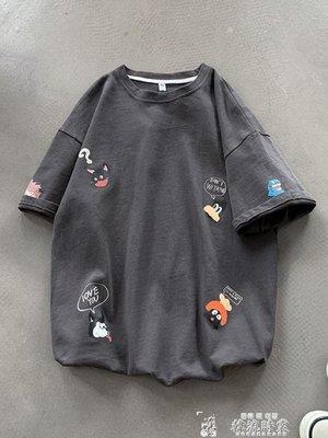卡通潮流短袖T恤韓版男生潮牌夏季ins五分袖寬鬆上衣