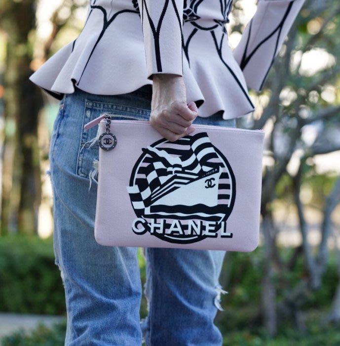 Chanel Clutch A70476 單寧航海手拿包粉紅 c013902311f4b