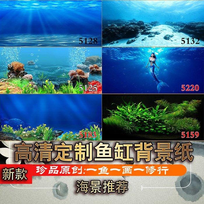 DREAM-魚缸背景紙畫高清圖3d立體水族箱貼紙龍魚缸底裝飾造景海景圖定做