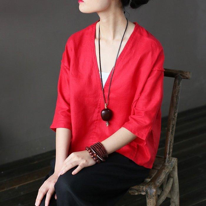 (老銀屋)V領純亞麻好品質短上衣/罩衫