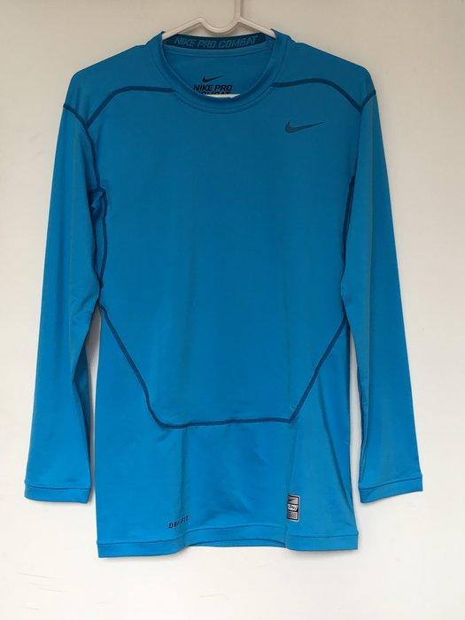 NIKE PRO COMBAT 緊身衣 長袖 保暖 重訓 健身 籃球 必備 水藍色 449794-415