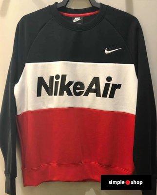 【Simple Shop】NIKE AIR 刺繡 拼接 大學T NIKE大學T 長袖 黑 紅 白 CJ4828-011