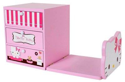 @雪花館@ 代購~正版Hello Kitty ♥ 木製書架3抽收納盒