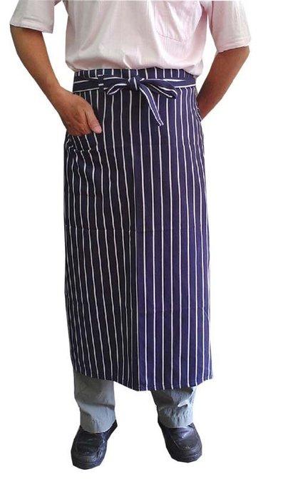 ☆°萊亞生活館 °圍裙 -半長圍裙【A525半身-藍白粗條紋】廚師圍裙。工作圍裙
