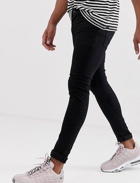 ◎美國代買◎ASOS強力彈性塑身顯廋萬年百搭顯廋款合身黑色牛仔褲~歐美街風~大尺碼