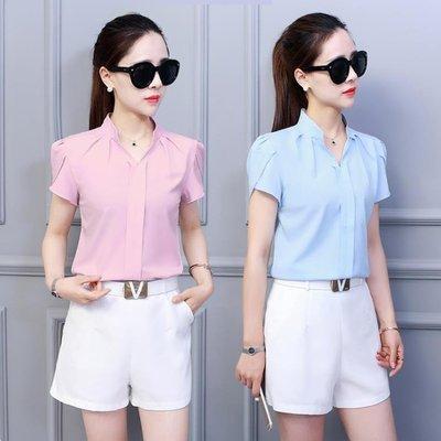 2018夏季新款女韓范襯衣寬鬆顯瘦大碼短袖休閒荷葉袖白色雪紡衫女